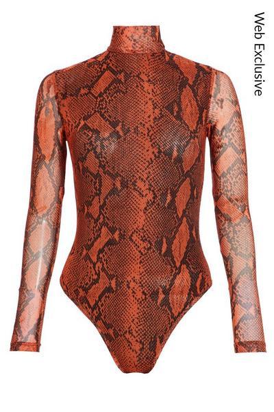 Rust Snake Print Long Sleeve Bodysuit
